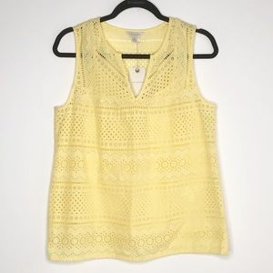 LUCKY BRAND Eyelet Yellow Sleeves Tank Top